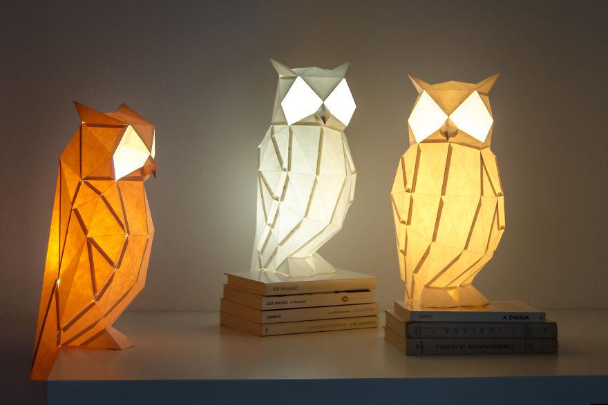 ایده خلاقانه ساختن لامپ های اوریگامی الهام گرفته از حیوانات + تصاویر