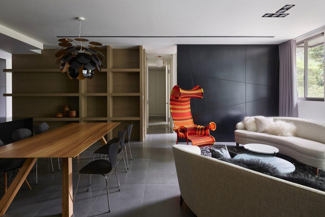 آپارتمانی شیک با دکوراسیون سیاه و خاکستری
