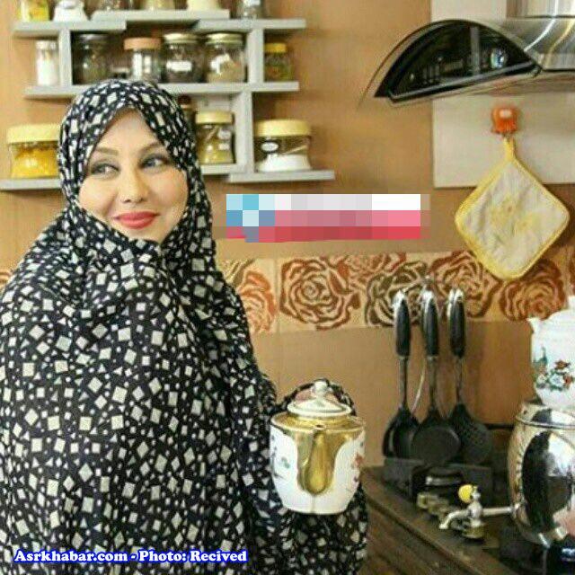 عکس جالب بهنوش بختیاری با چادر در حال ریختن چای!