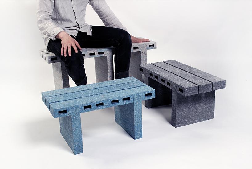 مبلمان بتنی ساخته شده از کاغذهای بازیافتی + تصاویر