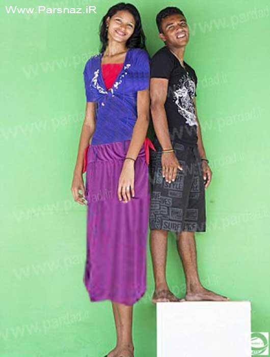 قدبلندترین دختر جهان به همراه نامزدش