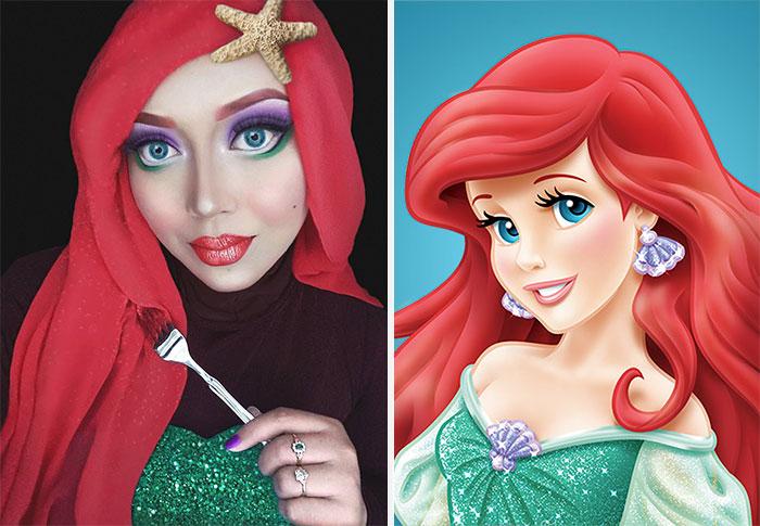 آرایش دختر محجبه به سبک شخصیت های فانتزی و کارتونی