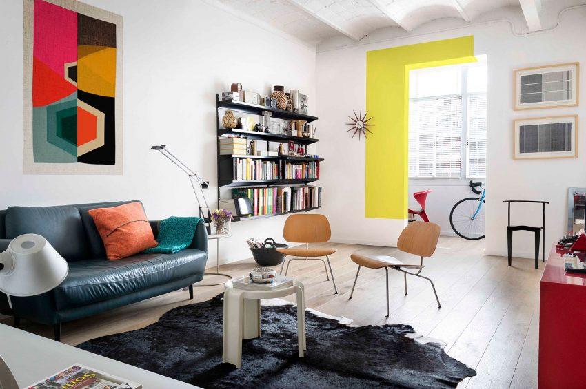 آپارتمان های رنگارنگ و مدرن با دکوراسیون هنری در بارسلونا، اسپانیا + تصاویر
