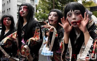 عکس: ژاپنی های ترسناک در جشن هالووین امسال
