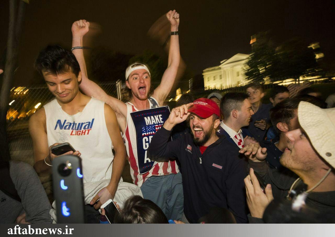 شادی طرفداران ترامپ بعد از پیروزی او در انتخابات