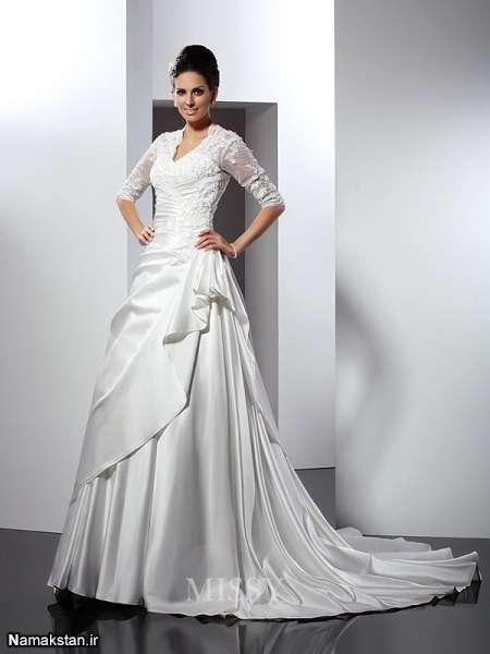 انواع مدل لباس عروس پرنسسی دنباله دار جدید و زیبا طرح 96 – 2017