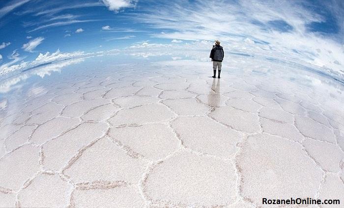 دریاچه خشکیده نمک Uyuni در بولیوی