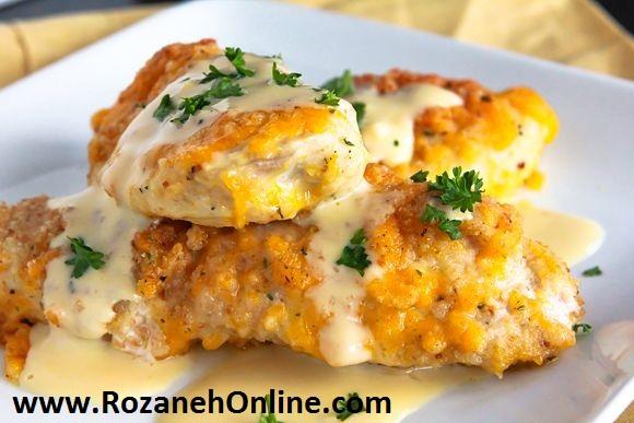 آموزش درست کردن کتلت مرغ با قارچ و پنیر