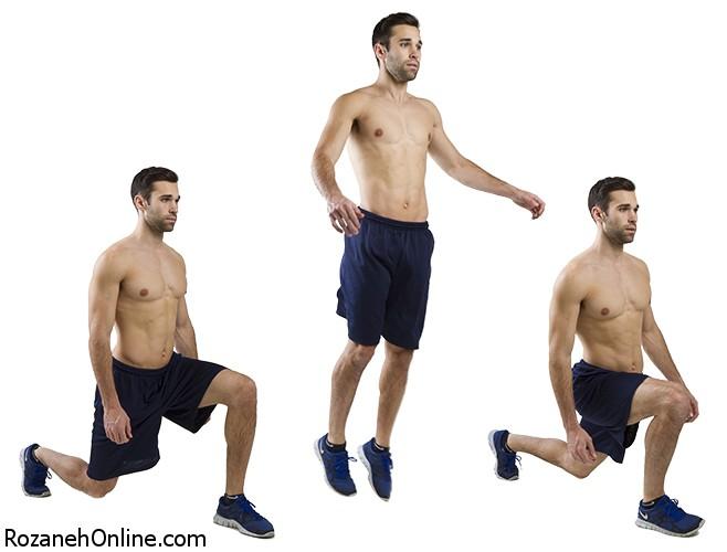 افزایش ضربان قلب بوسیله حرکت ورزشی Jumping Lunges