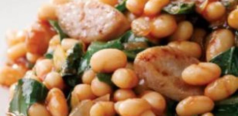 آموزش درست کردن خوراک لوبیا و سوسیس