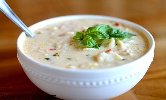 آموزش درست کردن سوپ قارچ و مرغ خامه ای ویژه افطار