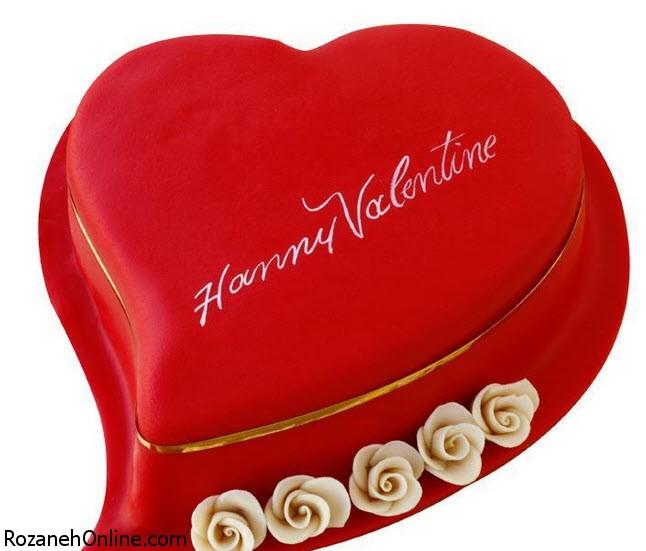 تزیین کیک قرمز مخملی بمناسبت روز ولنتاین