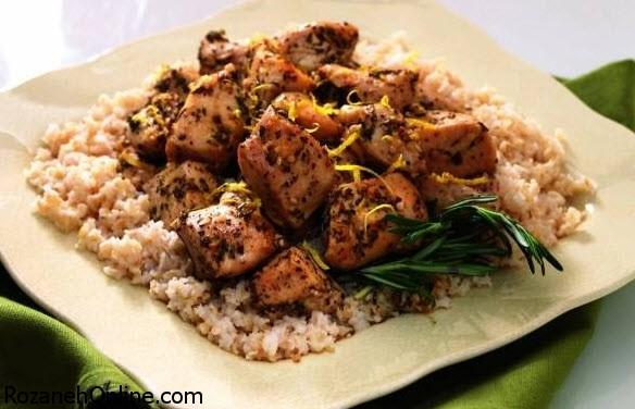 خوراک مرغ و برنج رژیمی را با زنجبیل خرد شده مزه دار کنید!