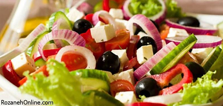 طرز تهیه سالاد یونانی رژیمی ویژه کاهش وزن بسیار سریع