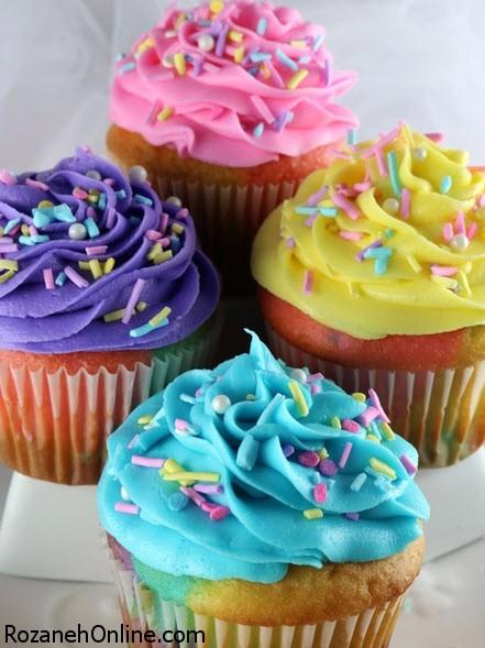تزیین کاپ کیک و رنگارنگ کردن آن با روش زیر