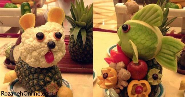 طرز تهیه ظرف میوه بهمراه شیرینی های ترسناک