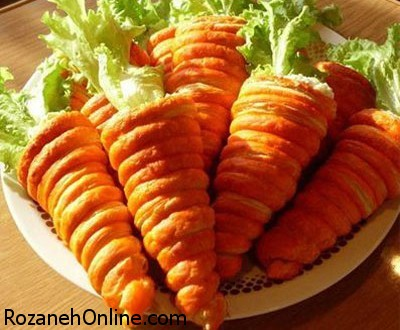 طرز تهیه سالاد الویه به شکل هویج ویژه مهمانی ها