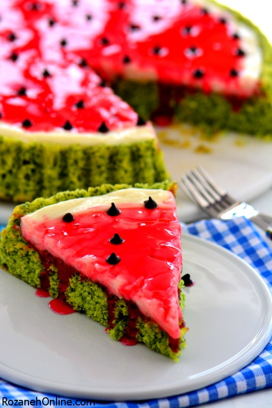 آموزش کیک با رویه شبیه هندوانه