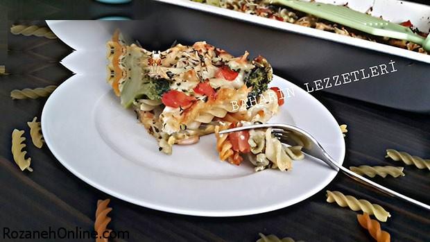 رسپی گراتن  خوشمزه با ماکارونی سبزیجات