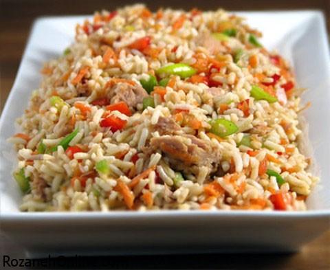 درست کردن خوراک برنج نیمه با قارچ و آویشن