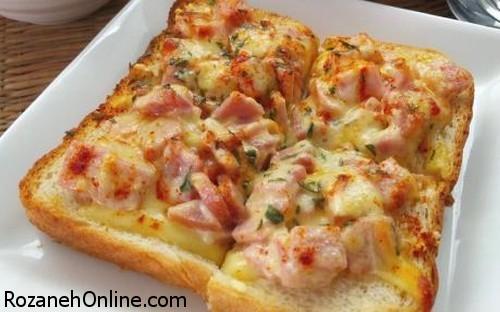 طرز تهیه پیتزا یک نفره با نان ساندویچی