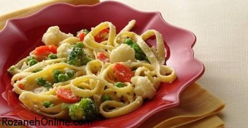 روش پخت پیتزای ماكارونی با سبزیجات و شیر