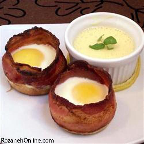 درست کردن ژامبون و تخم مرغ فنجانی ویژه یک صبحانه مفصل