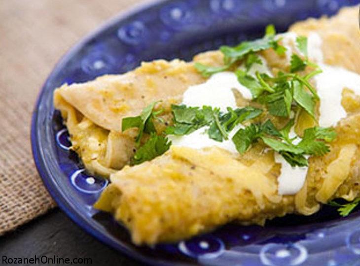 دستور پخت انچیلادا فلفل سبز با سس پنیر و خمیر ترتیلا