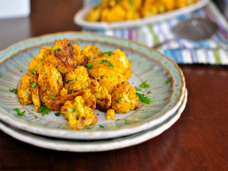 پخت خوراک کاری نخود و گل کلم یک غذای هندی