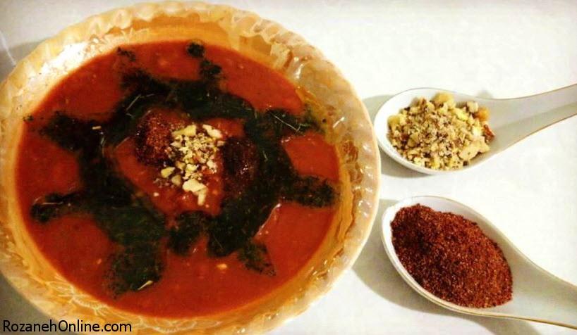 پخت آش سماق اصفهانی همراه با پیاز داغ فراوان