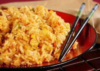 طریقه پخت برنج سرخ کرده یک غذای معروف چینی