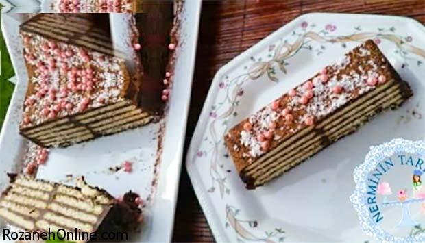 آموزش کیک  با بیسکویت وشکلات