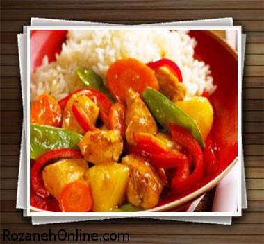 طرز تهیه جوجه ترش و شیرین یک غذای سنتی چینی