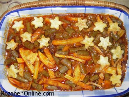 دستور پخت خورش هویچ و لوبیا سبز همراه با هویج فندقی