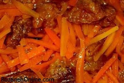 دستور تهیه خورش هویج خلالی با آلو بخارا