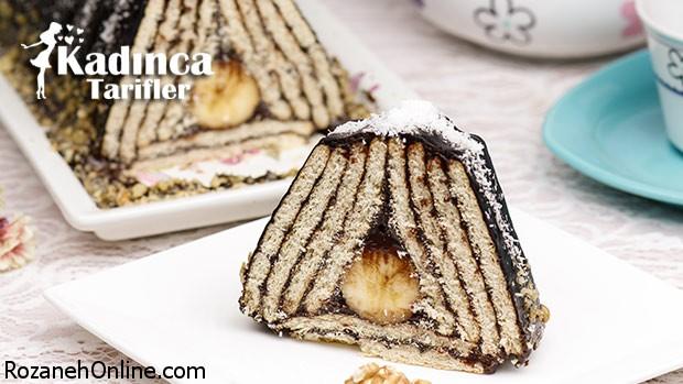 دستور پخت کامل  کیک پیرامید ترکیه با موز و بیسکویت
