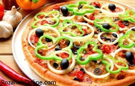 پخت پیتزا سبزیجات بدون پنیر