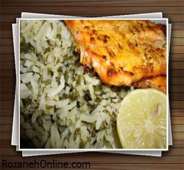 دستور پخت سبزی پلو با بلغور جو همراه با مرغ یا ماهی