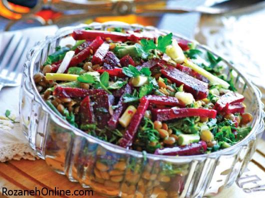 پخت سالاد عدس و لبو منبع غنی پروتئین