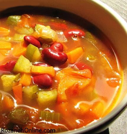 دستور پخت سوپ ایتالیایی سبزیجات سرشار از فیبر