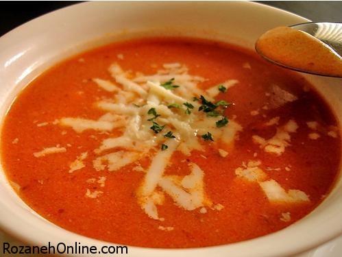 درست کردن سوپ گوجه فرنگی با ورمیشل های رشته ای