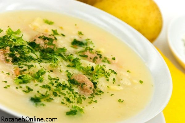پخت سوپ جو با سیر کبابی شده و کرفس