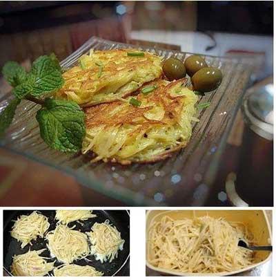 درست کردن کوکوی سیب زمینی رشته ای با استفاده از تخم مرغ