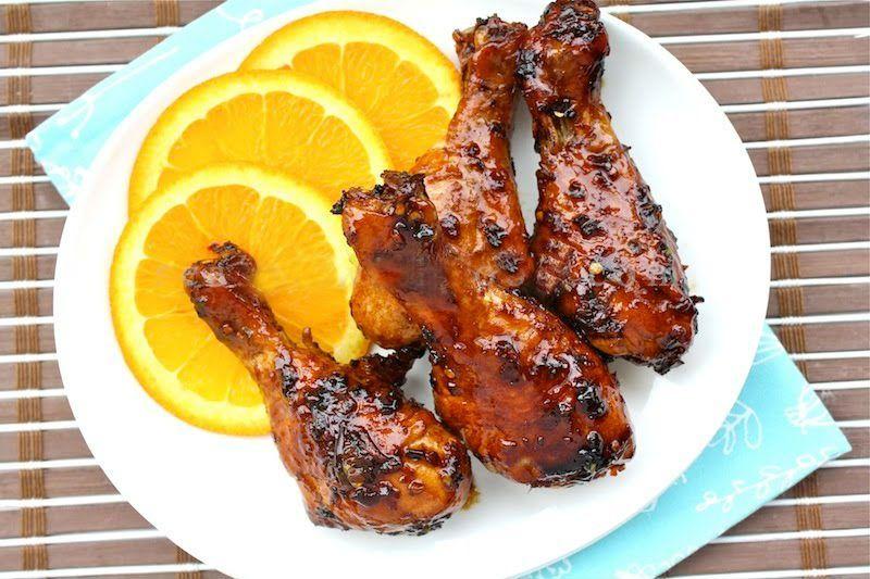 پخت مرغ سوخاری با سس پرتقال و سس سویا