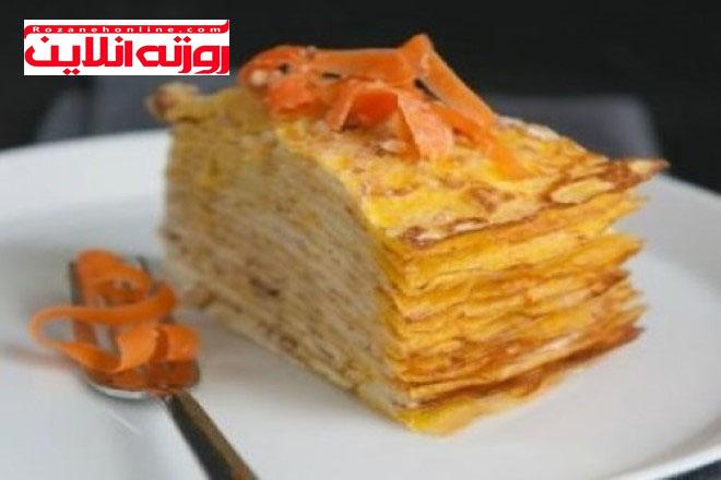 آموزش کیک هویج با استفاده از خمیر کرپ :