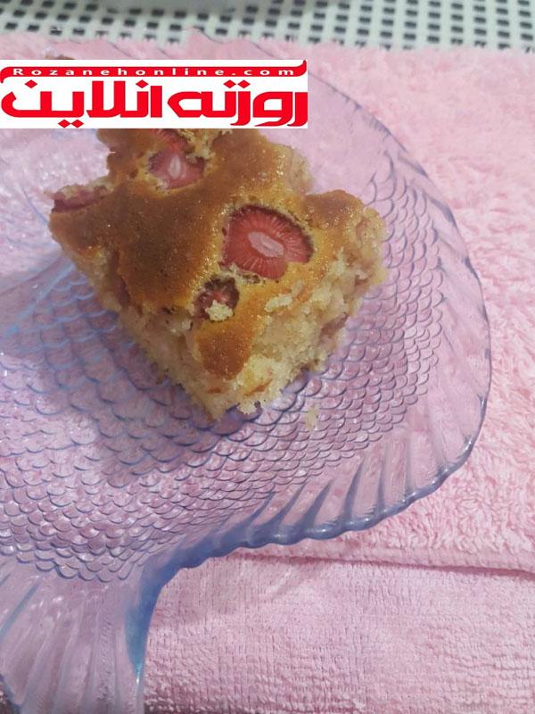 کیک توت فرنگی با مواد کم ( مخصوص افراد رژیم)