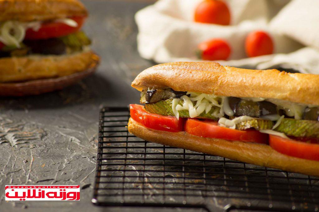 طریقه درست کردن ساندویچ سبزیجات