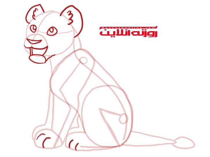 آموزش تصویری نقاشی بچه شیر به شکل نشسته