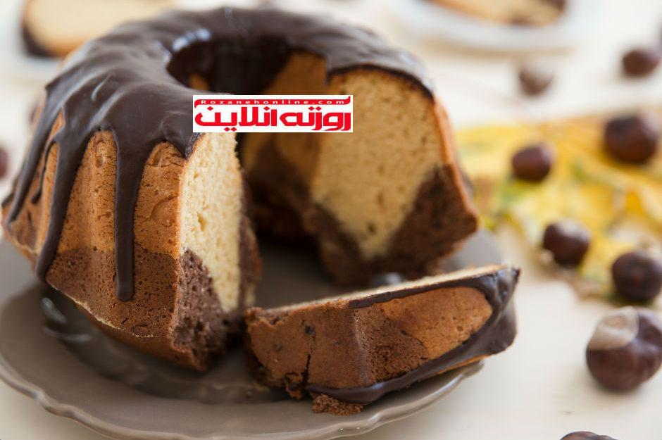 آموزش کیک دو رنگ با استفاده از  آب گاز دار