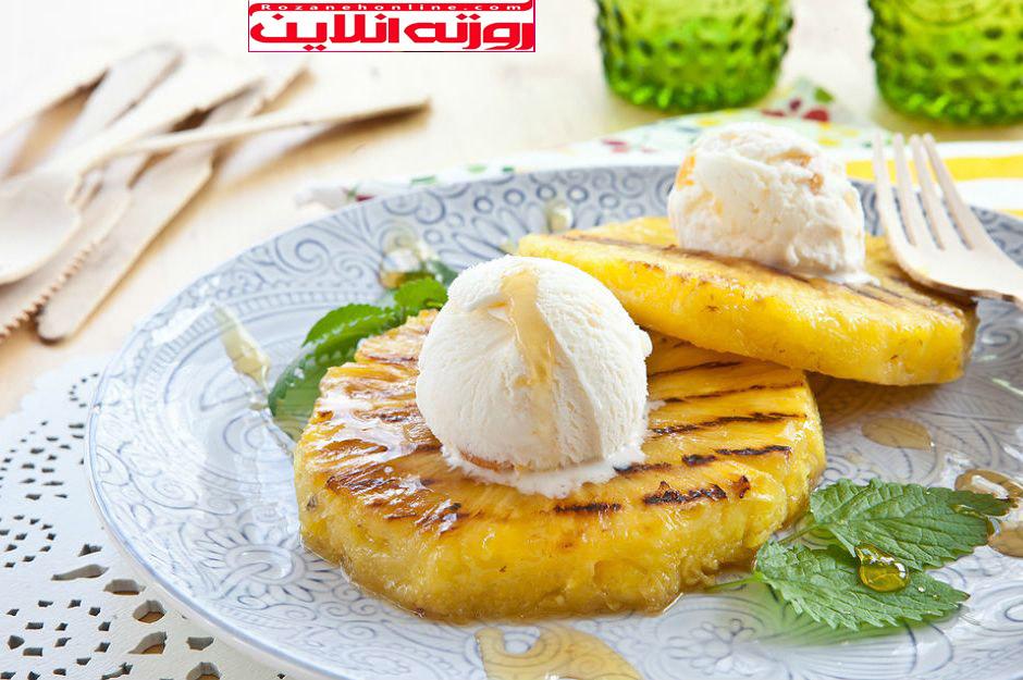 طریقه درست کردن آناناس سرخ شده به همراه بستنی